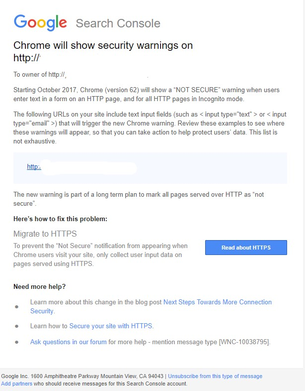 Google's message encouraging site owners to update to SSL.