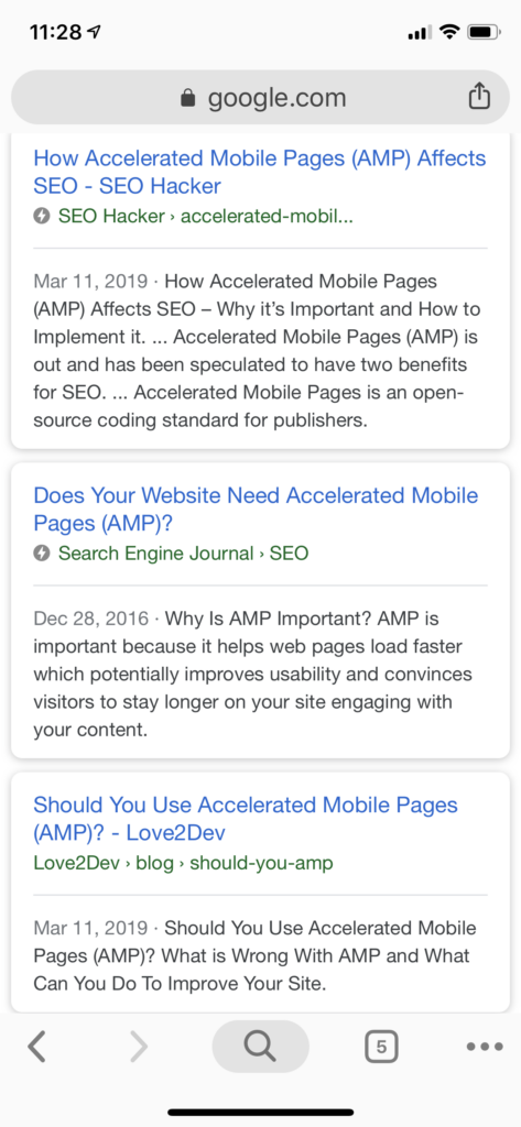 AMP pages are indicated by a lightning bolt icon