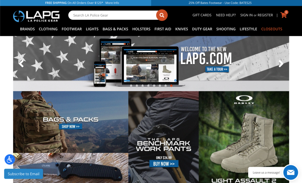 LA Police Gear's new website on BigCommerce